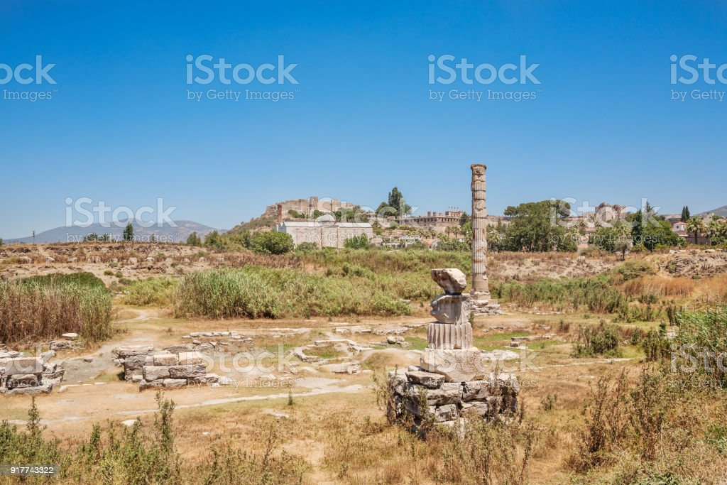 Ruins of Temple of Artemis at Ephesus. Selcuk in Izmir Province, Turkey stock photo