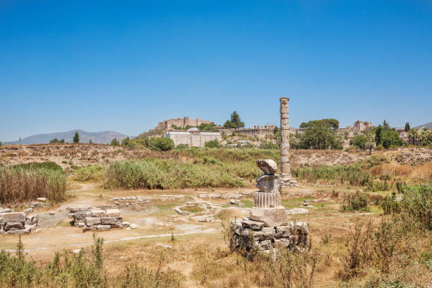 Ruins of Temple of Artemis at Ephesus. Selcuk in Izmir Province, Turkey Ruins of Temple of Artemis at Ephesus. Selcuk in Izmir Province, Turkey artemis stock pictures, royalty-free photos & images