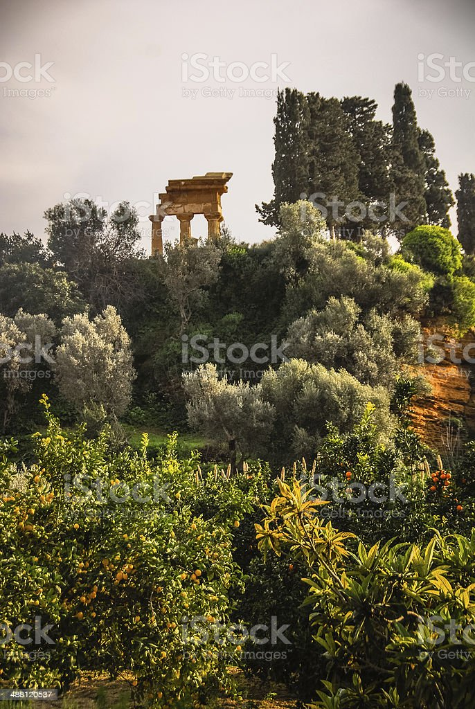 Ruins of Temple of Castor and Pollux from Below royalty-free stock photo