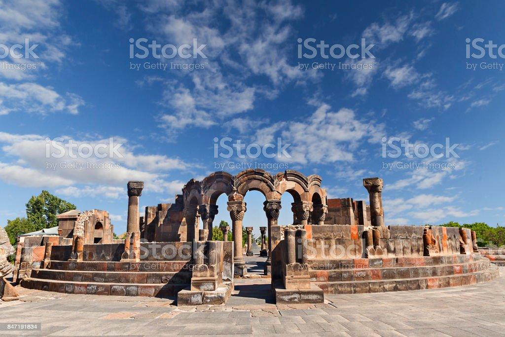 Ruins of Temple of Zvartnots, Yerevan, Armenia. stock photo