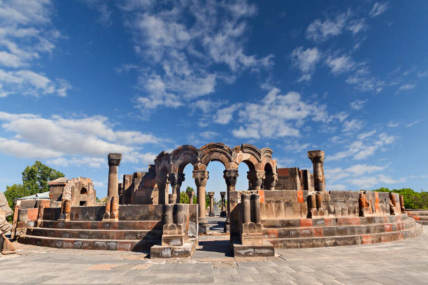 Ruins of Temple of Zvartnots, Yerevan, Armenia. Remains of the Temple of Zvartnots  built in the 7th centure as Armenian Cathedral. yerevan stock pictures, royalty-free photos & images