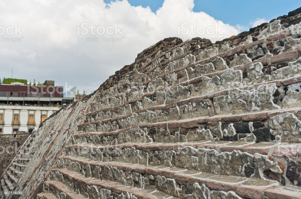 Ruins of Templo Mayor of Tenochtitlan. Mexico City. stock photo