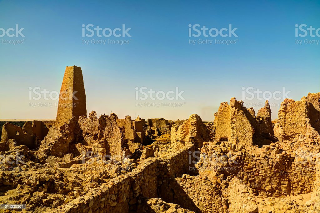 Ruins of the Amun Oracle temple, Siwa oasis, Egypt stock photo