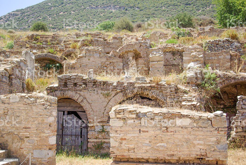 Ruins of the Ancient city of Ephesus stock photo
