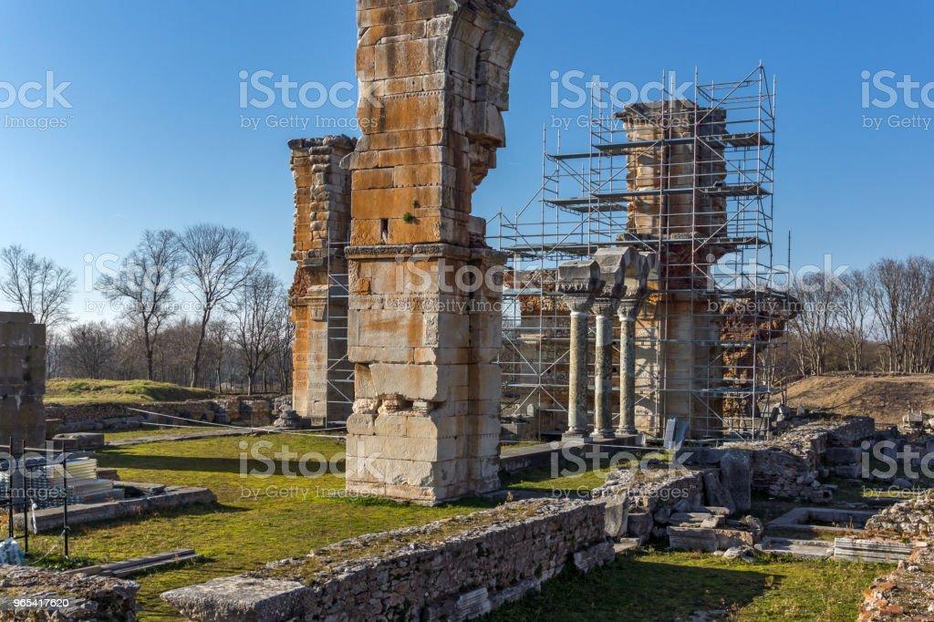 希臘腓古城遺址 - 免版稅Philippi - Greece圖庫照片