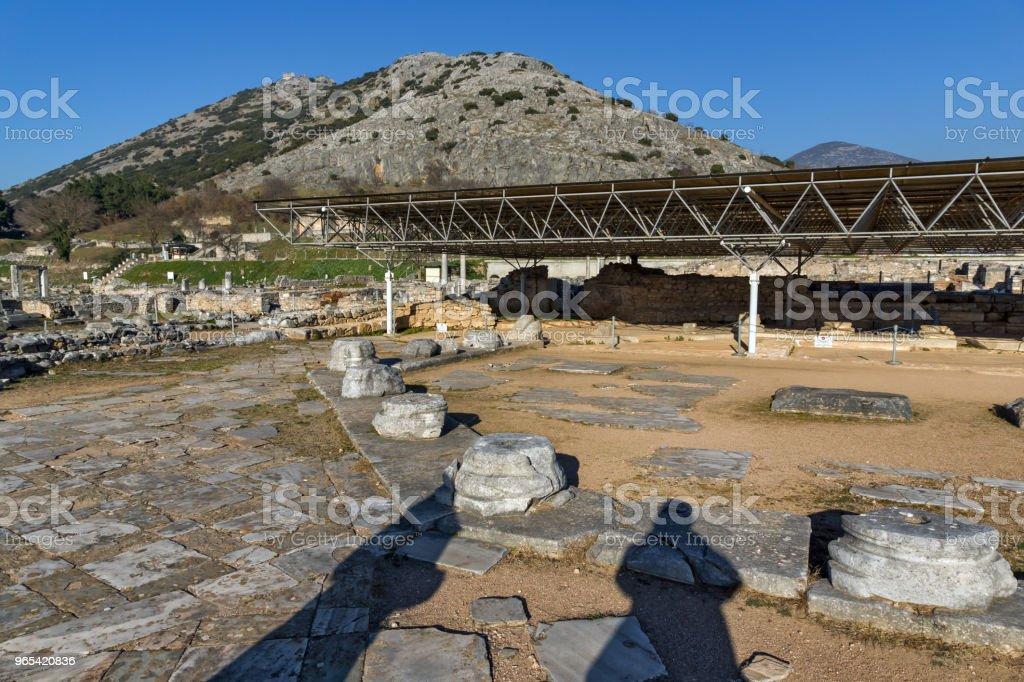 빌립보, 그리스의 고 대 도시의 유적 - 로열티 프리 0명 스톡 사진