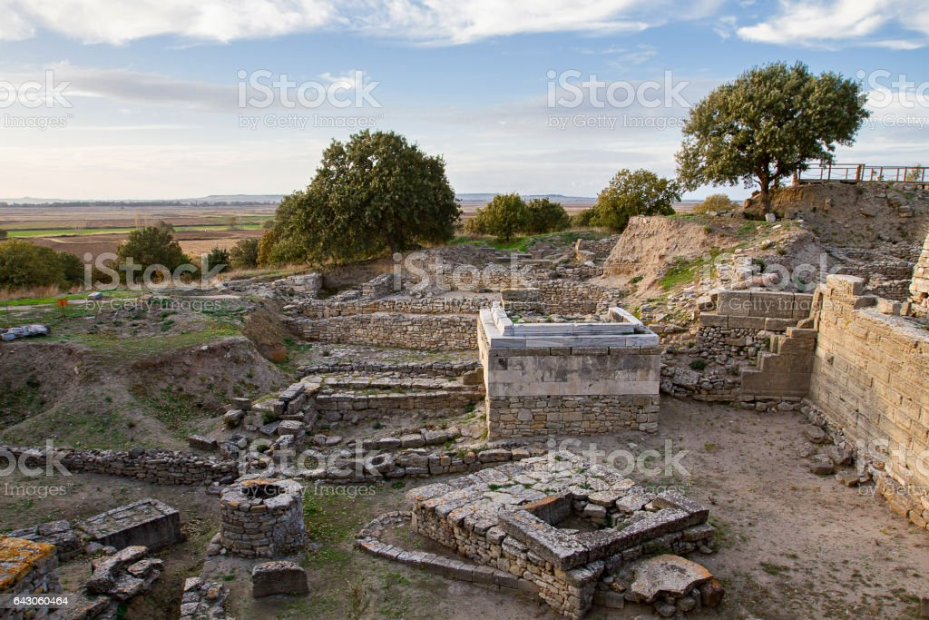 Ruins of the ancient city of Troy, Canakkale, Turkey stock photo