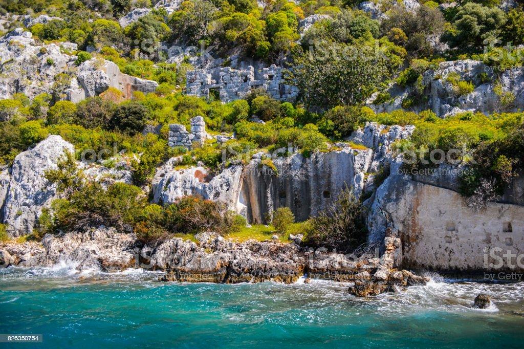 Kekova Adası, Türkiye antik kentin kalıntıları stok fotoğrafı