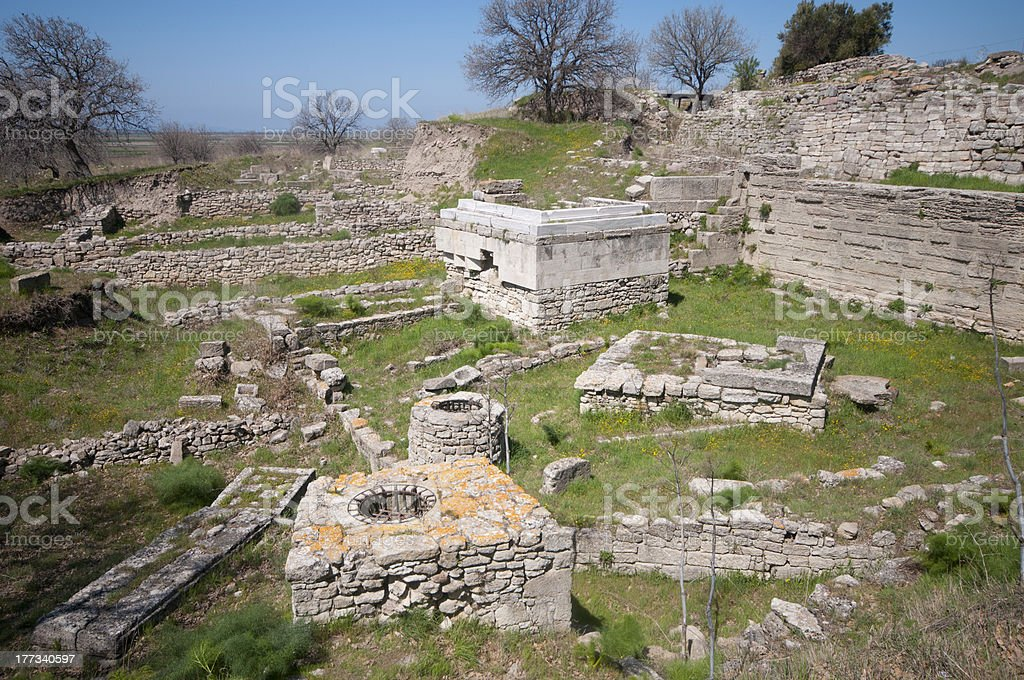 Ruins of the ancient city, Troy stock photo