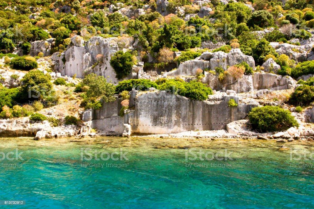 Su altında Antik kentin kalıntıları stok fotoğrafı