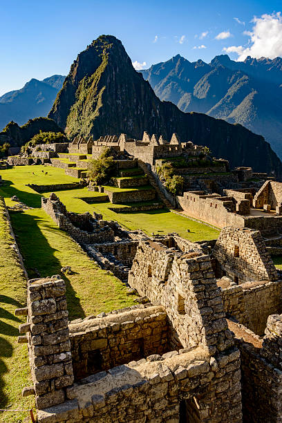 Ruins of the ancient Inca city of Machu Picchu stock photo