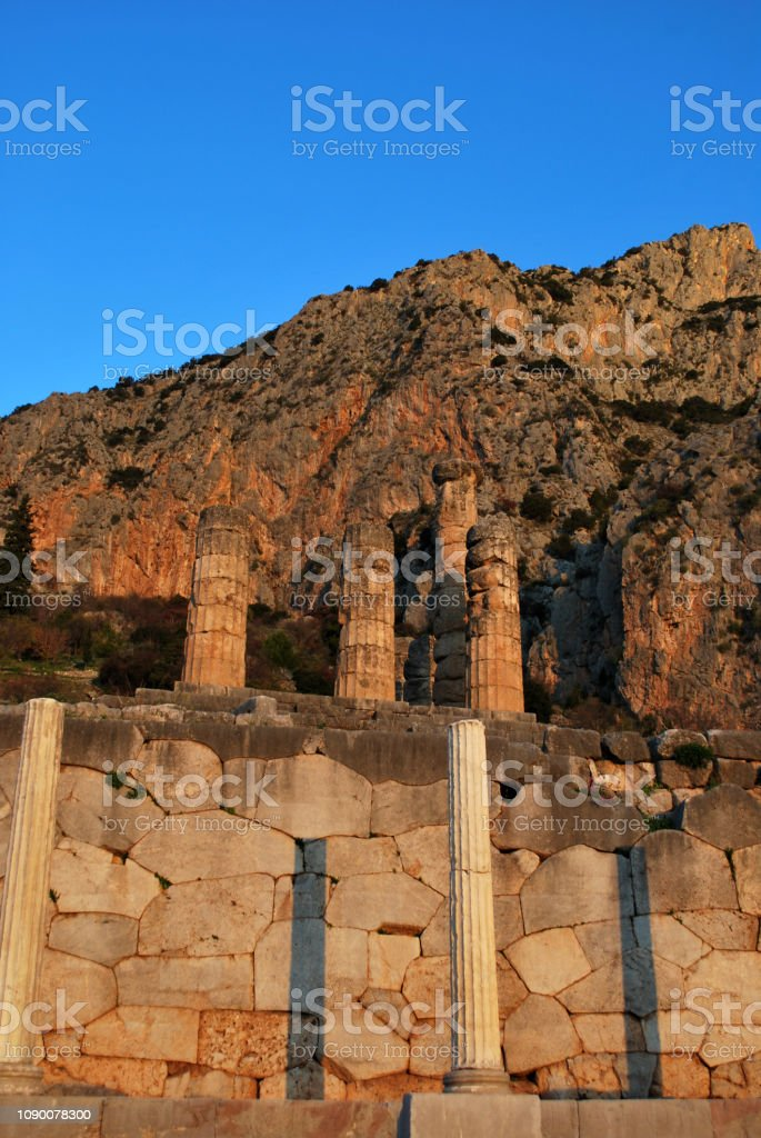 Ruins Of The Ancient Temple Of Apollo In Delphi Greece Stock Photo -  Download Image Now