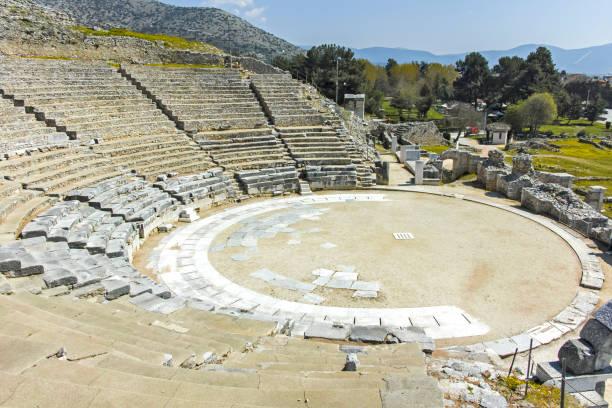 Filippi antik kentinde antik tiyatro harabeleri, Yunanistan stok fotoğrafı
