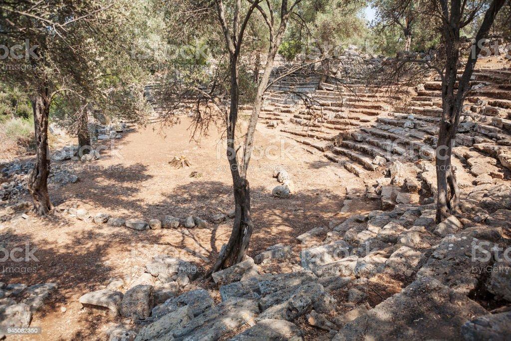 Ruins of the antcient greek theater, Kedrai, Sedir island,Gulf of Gokova, Aegean Sea, Turkey stock photo