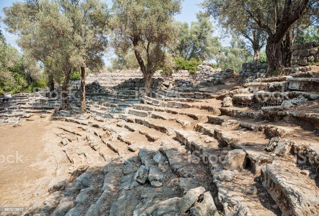 Ruins of the antique greek theater, Kedrai, Sedir island, Gulf of Gokova, Aegean Sea, Turkey stock photo