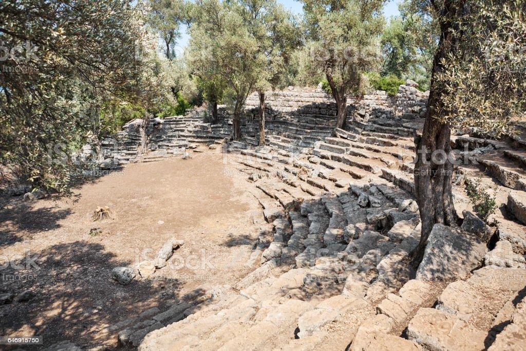Ruins of the antique greek theater, Kedrai, Sedir island,Gulf of Gokova, Aegean Sea, Turkey stock photo