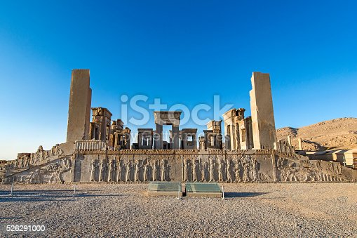 The ruins and columns of the Apandana in the ancient city of Persepolis, Iran.