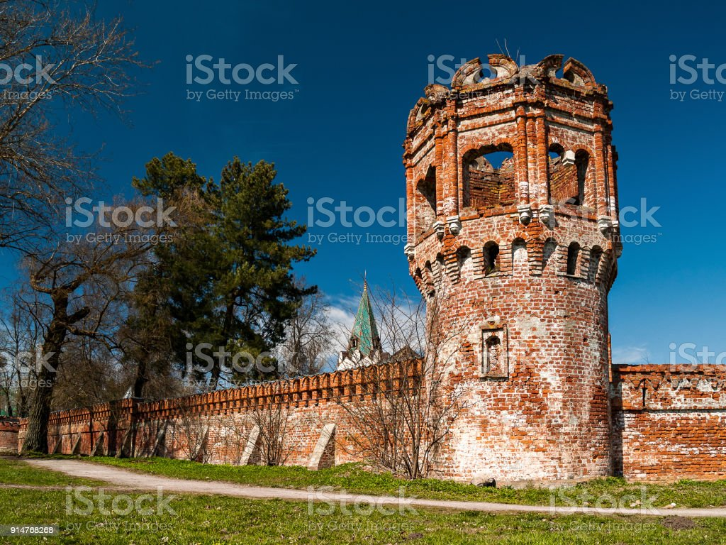 Ruins of the architectural complex Fedorovsky town in Tsarskoye Selo in St. Petersburg stock photo
