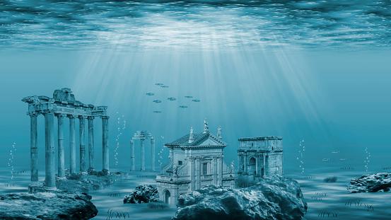 Underwater landscape with ruins