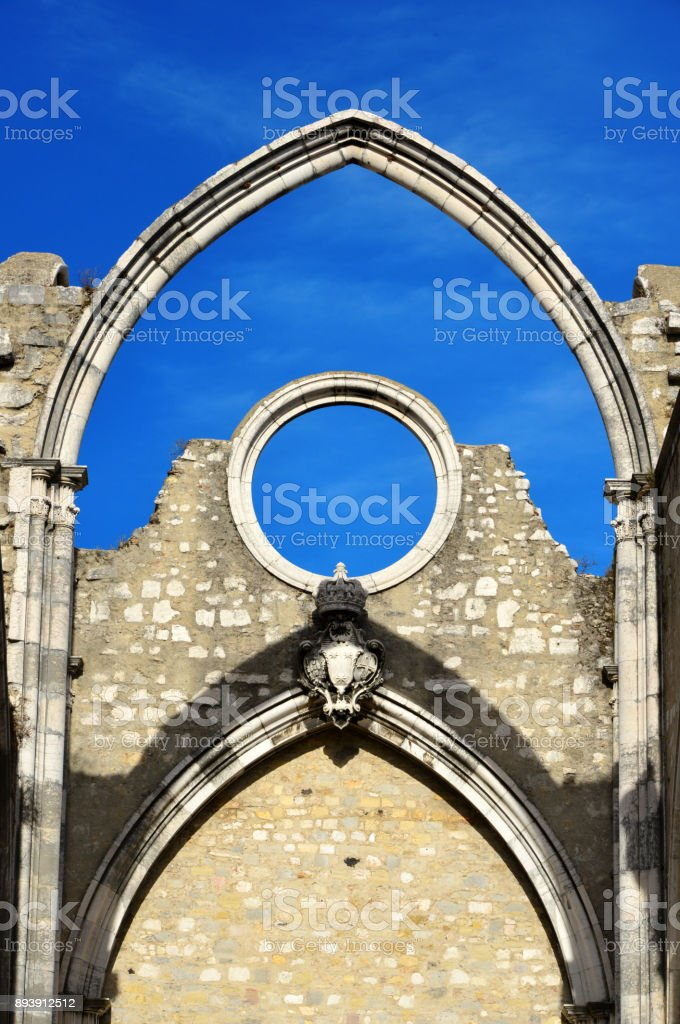 Ruins of the church of Carmo Convent - Convento do Carmo, damaged by the 1755 Lisbon earthquake, Portugal stock photo