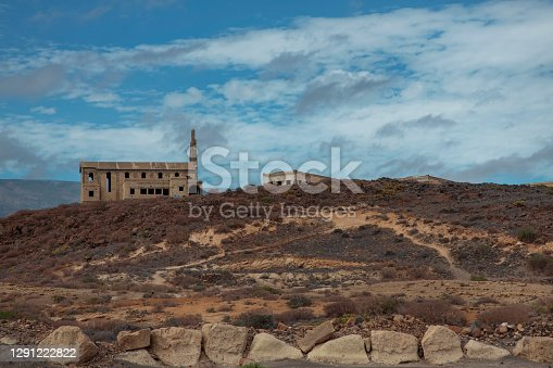 Ruins of the church of the leprosy station known as Sanatorio de Abona, an abandoned colony aimed to treat patients with the disease but never finalized, Abades village Tenerife, Canary Islands, Spain.