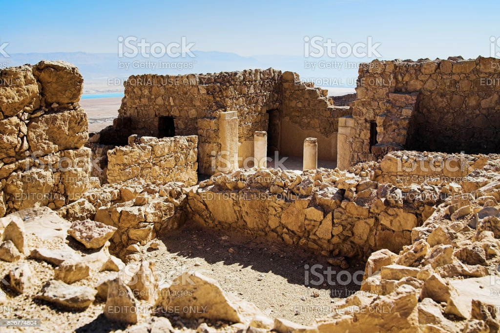 Ruins of the commandant's residence in Masada Fortress, Israel stock photo
