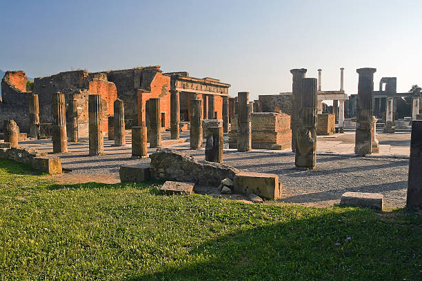 ruins of the Forum in Pompeii The image of the ruins of ancient Pompeii Forum in a normal summer day. Italy. roman forum stock pictures, royalty-free photos & images