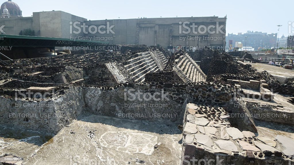 Ruins of the Great Temple in Mexico City stock photo