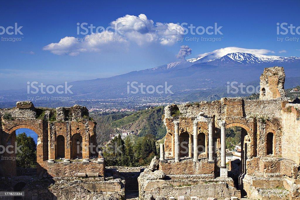 Ruins of the Greek Roman Theater, Taormina, Sicily, Italy stock photo