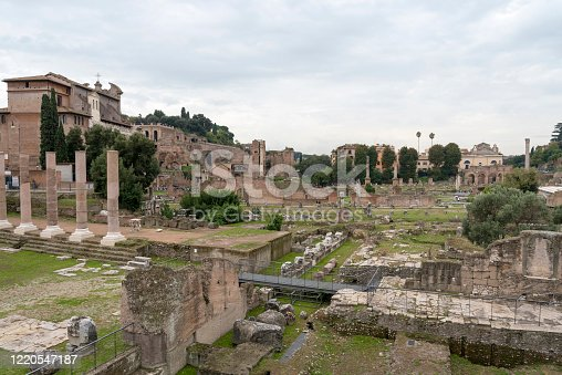 The ruins of the house of vestals in the Roman Forum. Rome, Italy. City attraction.