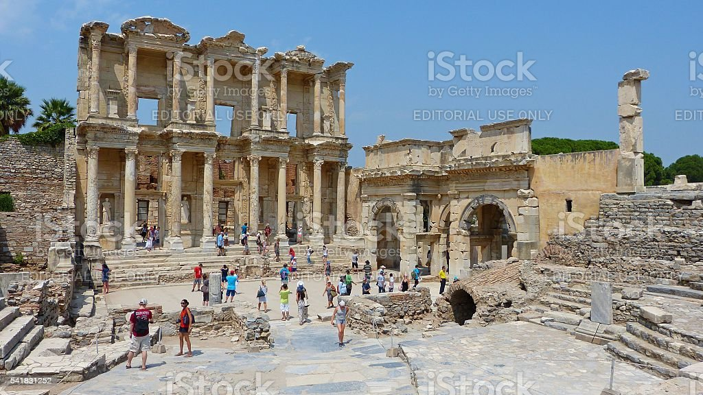 Ruins of the Library of Celsus in Ephesus stock photo