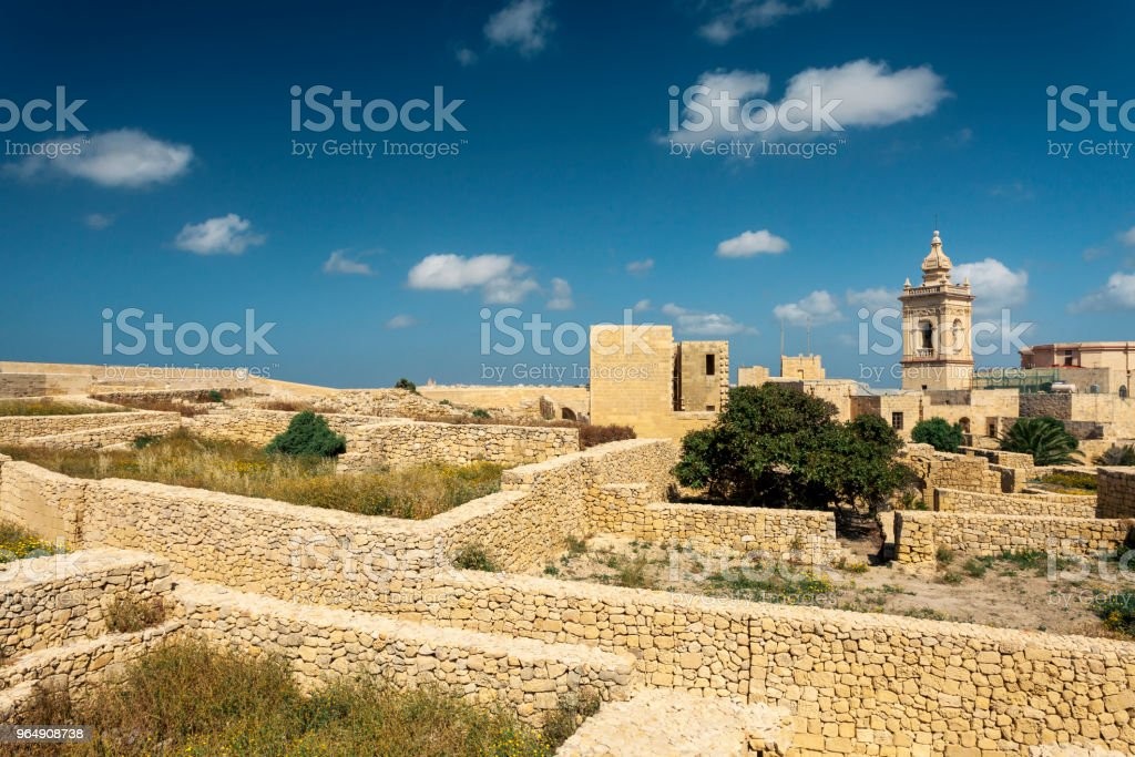 Ruins of the medieval Citadel in Victoria, island of Gozo, Malta royalty-free stock photo