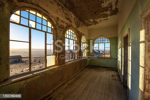 Ruins of the mining town named Kolmanskop located in the Namib desert near Luderitz in Namibia, Southern Africa