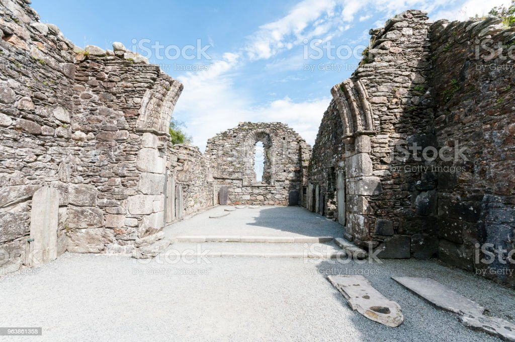 Ruins of the monastic cathedral at Glendalough, Ireland - Royalty-free Abbey - Monastery Stock Photo