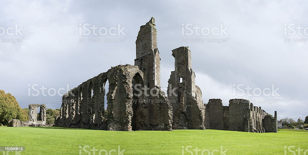 Ruins of the Neath Abbey Panorama stock photo