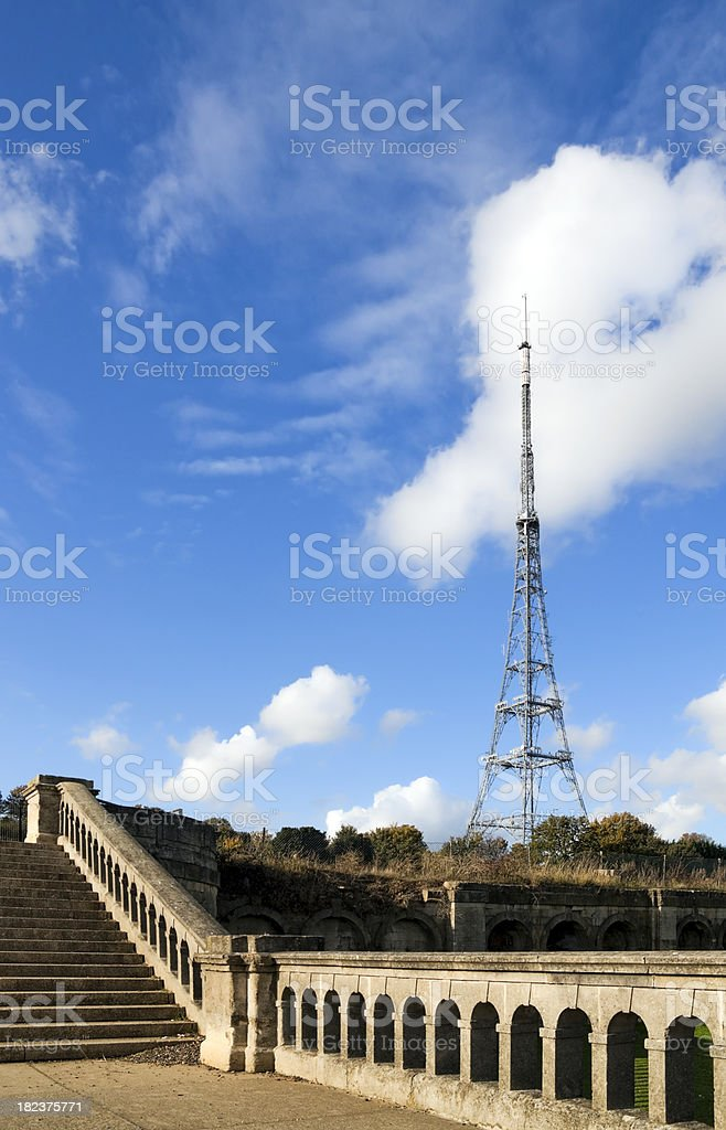 Ruins of the old Crystal Palace with TV mast stock photo