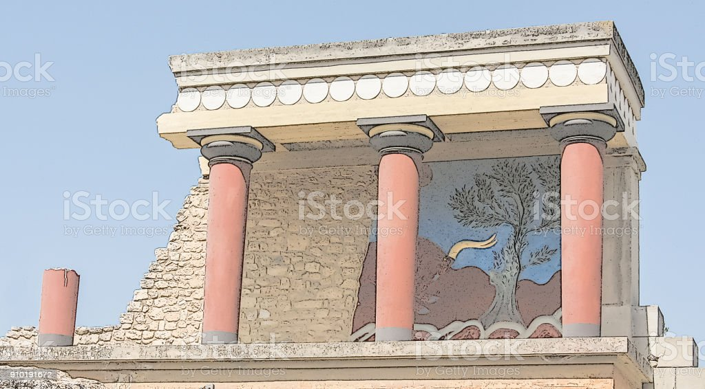 Ruins of the palace of Knossos. Famous archaeological attraction on island Crete, Greece. The major city of ancient Crete, centre of the Minoan civilization and culture. Digital imitation of a colored contour drawing stock photo