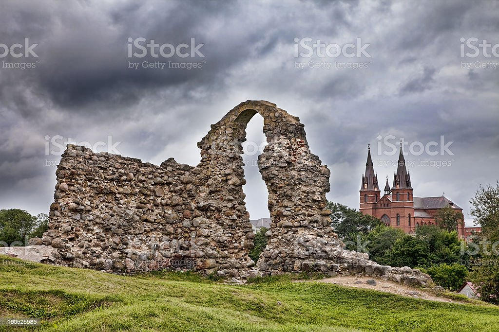 Ruins of the Rezekne Castle Hill. Latvia royalty-free stock photo
