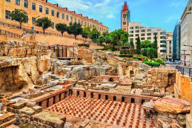 Ruins of the Roman Baths in Beirut, Lebanon Ruins of the Roman Baths of Berytus in Beirut, Lebanon beirut stock pictures, royalty-free photos & images