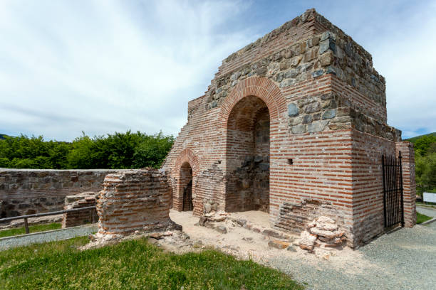 Ruins of the Roman fortress and gate, located in the Troyan Pass, Bulgaria. stock photo