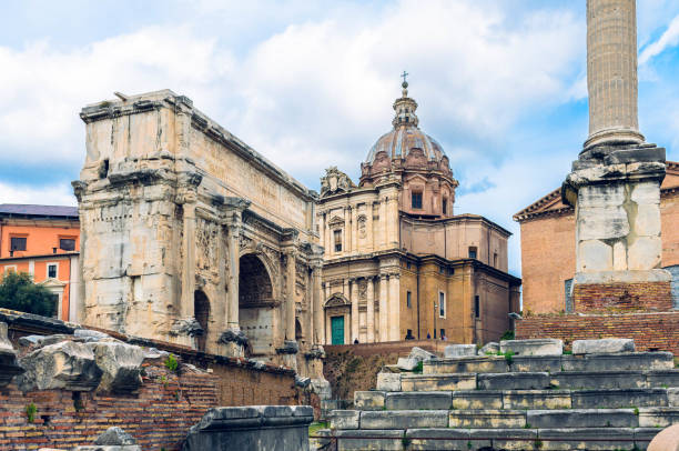 Ruins of the Roman Forum at Palatine hill in Rome. stock photo