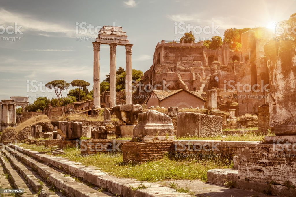 Ruins of the Roman Forum in summer, Rome stock photo
