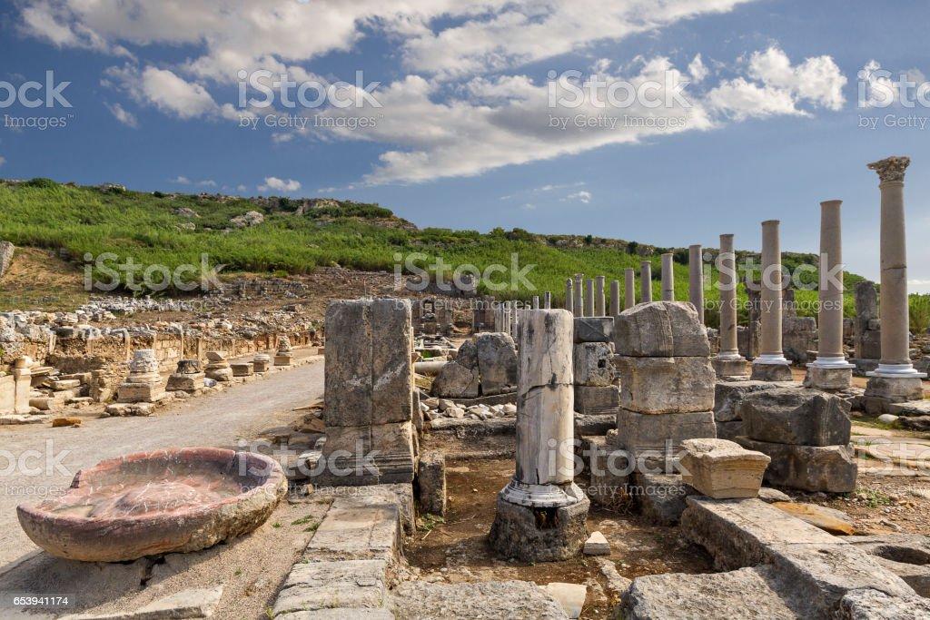 Perge, Antalya, Türkiye'nin Roma sitenin kalıntıları stok fotoğrafı
