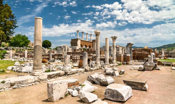 Ruins of the St. John Basilica at Ephesus in Turkey stock photo