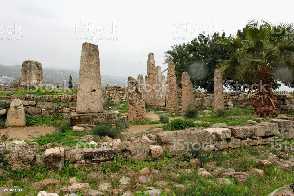 Ruins of the temple of Baalat Gebal in Byblos stock photo