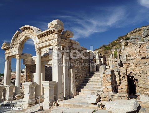 The ruins of the temple of Hadrian in the ancient city of Ephesus, Izmir Province, Turkey.