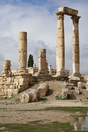 Ruins of the Temple of Hercules on the top of the mountain of the Amman citadel, Jordan