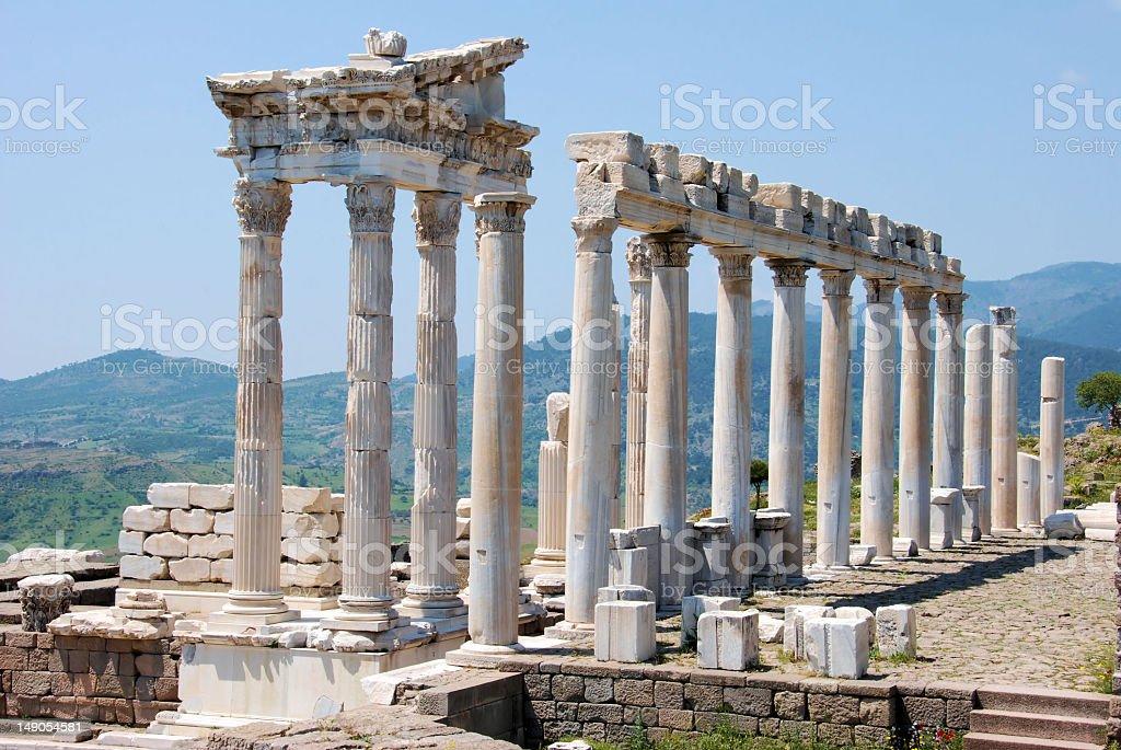 Ruins of the Temple of Trajan at Pergamos royalty-free stock photo