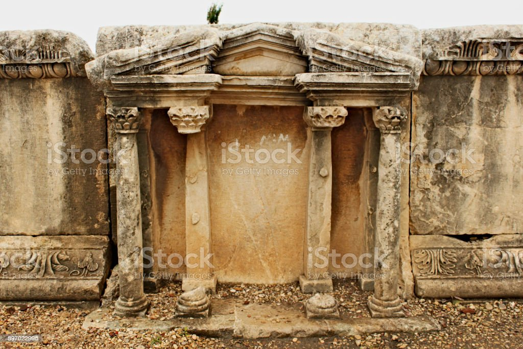 Ruins of the theatre in the temple of Baalat Gebal in Byblos stock photo