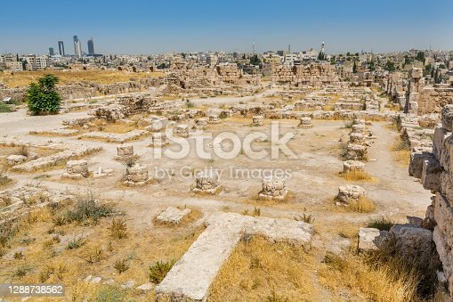 Ruins of the walls in the Amman Citadel, a historical site at the center of downtown Amman, Jordan. Known in Arabic as Jabal al-Qal'a, one of the seven jabals(mountains) that originally made up Amman